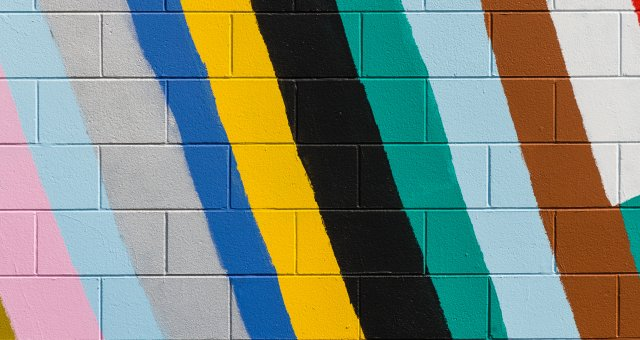 colorful stripes painted on wall