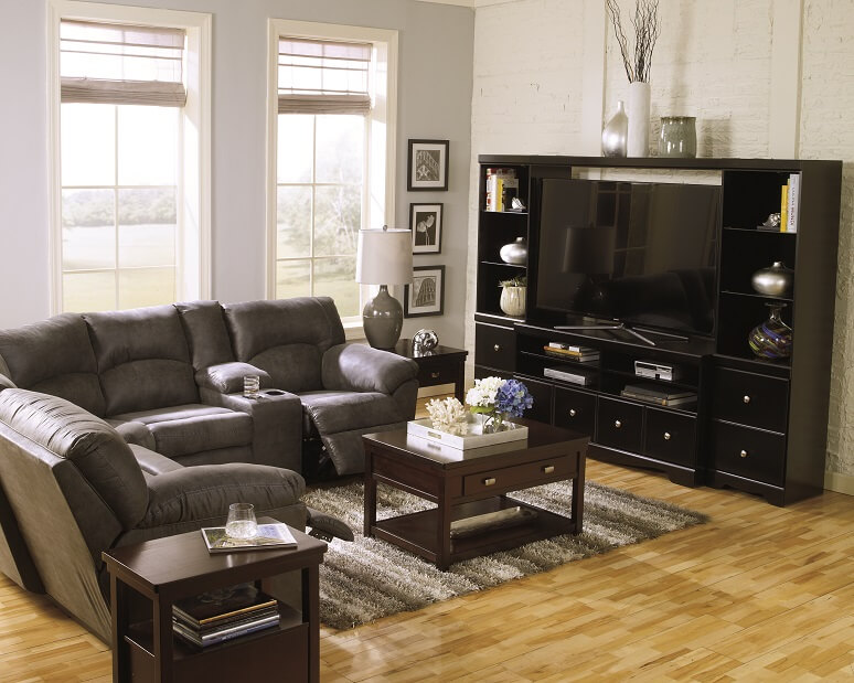 Tambo Pewter Gray Reclining Sectional Sofa Set pairs nicely with the Shay Black Entertainment Center