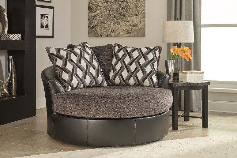 Gray fabric and leather swivel chair