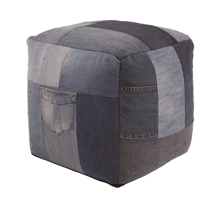 square pouf made of patchwork denim