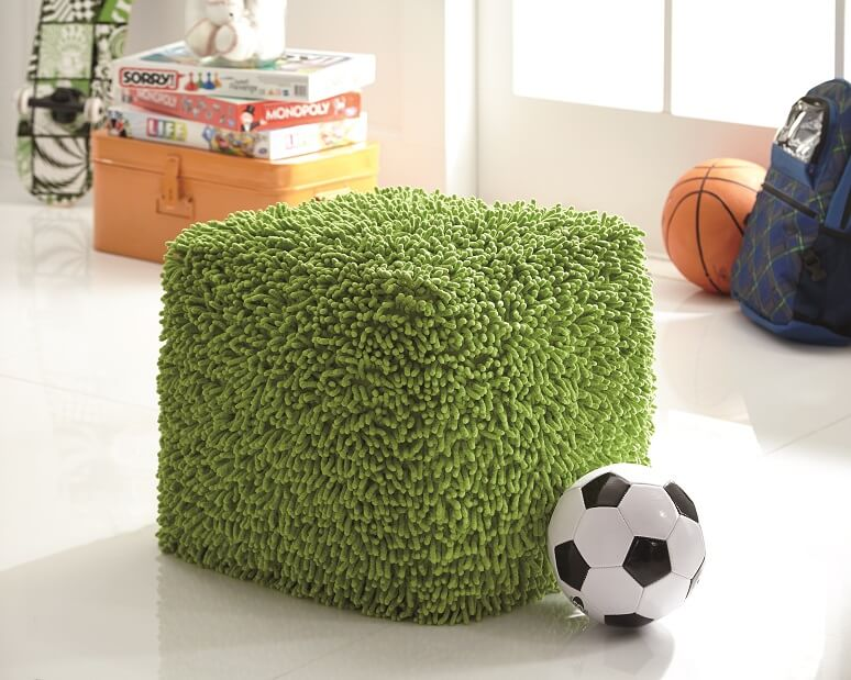 bright green pouf with large shag surface