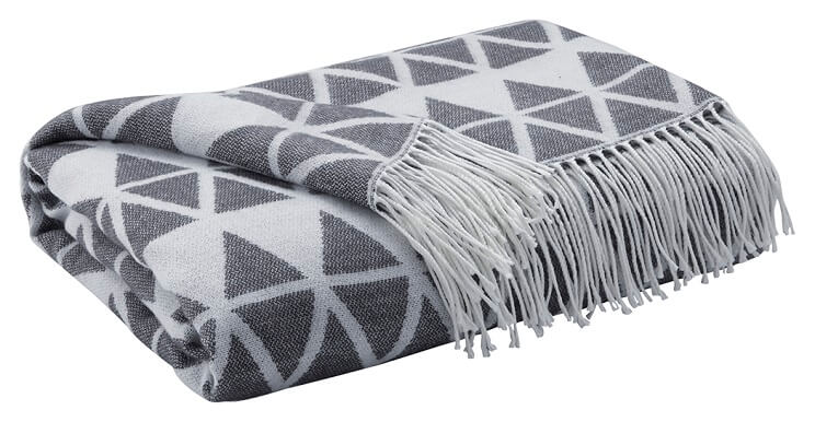 A white a gray throw blanket with an aztec pattern.