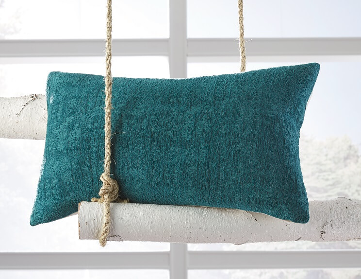 Solid textured turquoise yellow accent pillow