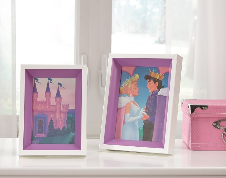 4x6 and 5x7 white and purple photo frames with photos of princesses inside.