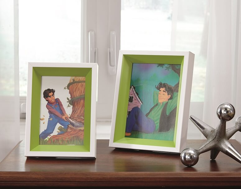 white and green picture frames with a photo of a animated prince in them.