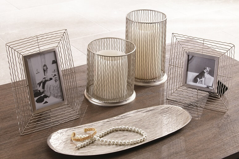 wavy wire silver accessory set with candle holders and picture frames
