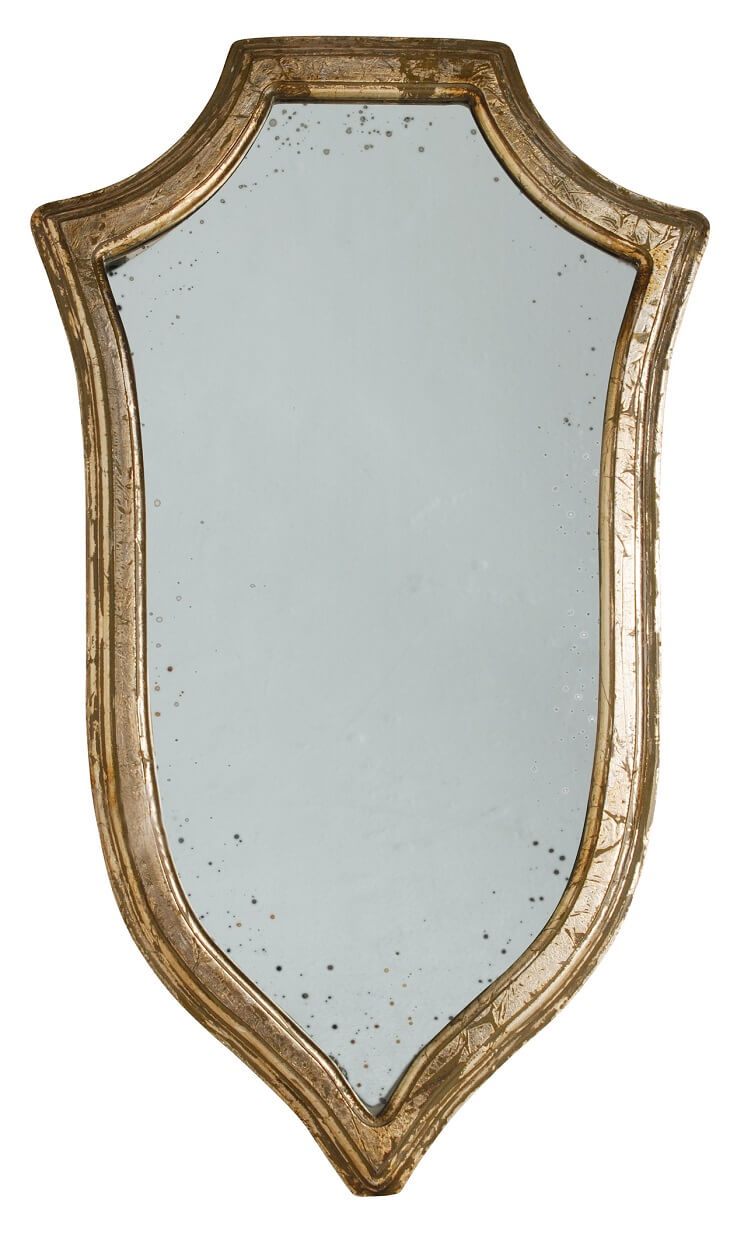 Sheld shaped wall mirror with antiqued platinum color trim.
