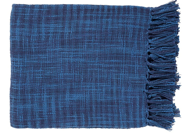 Blue throw blanket with fringe