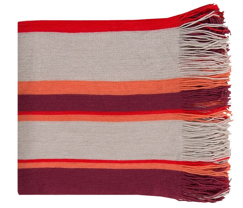 Striped throw blanket with fringe