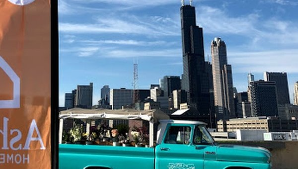 Flower truck and Chicago skyline.